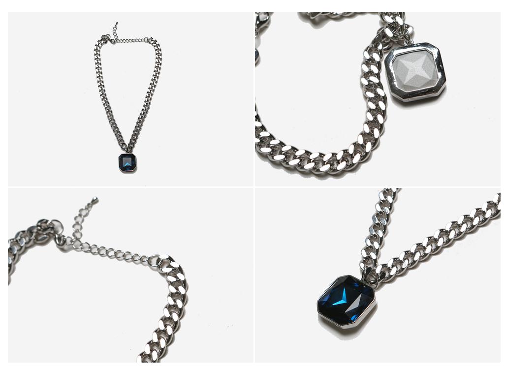 方形蓝宝石金属项链